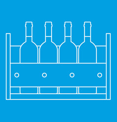 Bottles of wine in a wooden box icon outline style vector