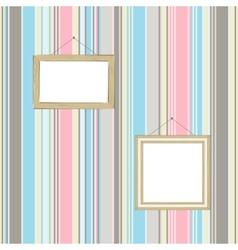 Frames on striped wallpaper background vector image