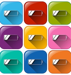 Rounded buttons with batteries vector