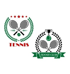 Tennis game icons and emblems vector