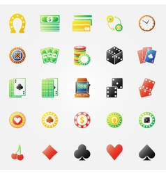Casino icons bright set vector image