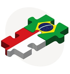 Indonesia and brazil flags in puzzle vector