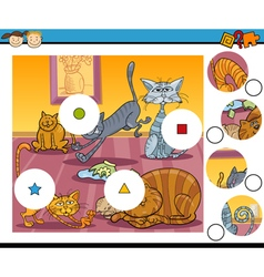 Match the pieces game cartoon vector