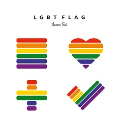 Lgbt pride flag rainbow icons set vector