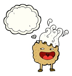 Cookie cartoon character with thought bubble vector