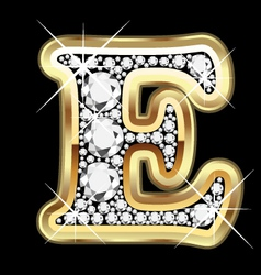 E gold and diamond vector