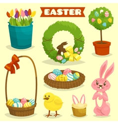 Easter cartoon isolated object icon set easter vector