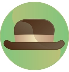 Retro brown hat symbol button vector