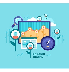 Organic traffic seo concept vector