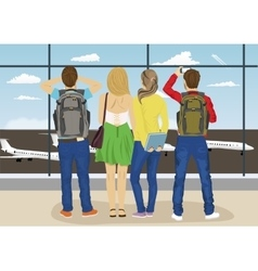 Young people looking airplane parking vector