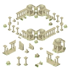 Ruins of the city in ancient greek style vector