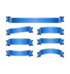Ribbon blue banners set 1b vector