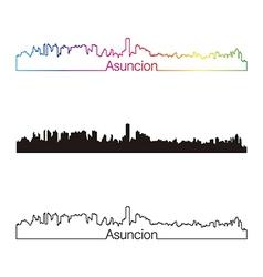 Asuncion skyline linear style with rainbow vector