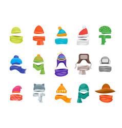 cartoon color winter hats and scarves headwear vector image vector image