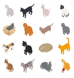 Cat icons set isometric 3d style vector image vector image
