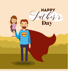 Colorful card with dad super hero and daugther on vector