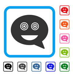 Crazy smiley message framed icon vector
