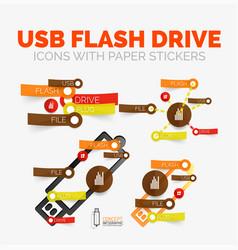 Diagram elements set of usb flash drive vector