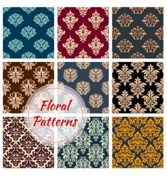 Floral damask seamless patterns set vector