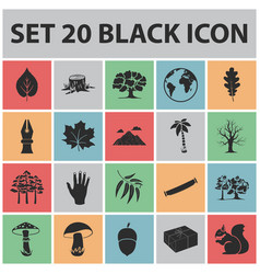 forest and nature black icons in set collection vector image vector image