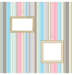 Frames on striped wallpaper background vector image vector image