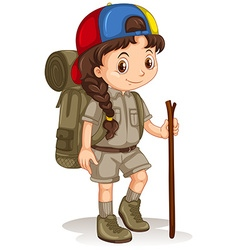 Girl with backpack and walking stick vector
