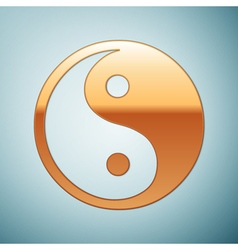 Gold Yin Yang symbol icon on blue background vector image