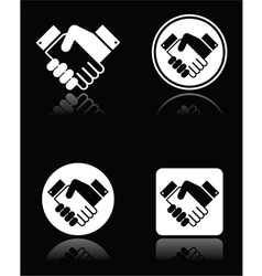 Handshake white icons set on black background vector image vector image