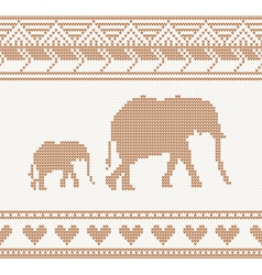 knitted pattern with elephant vector image vector image
