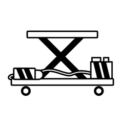 Lifting table warehouse delivery outline vector