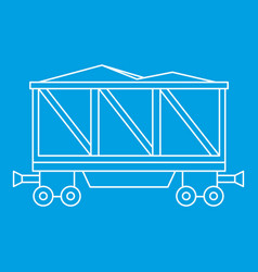 Loaded railway wagon icon outline style vector