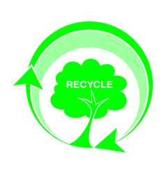 Logo recycle tree icons vector