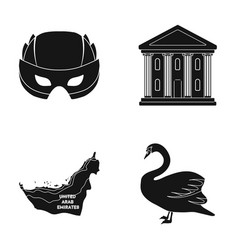 Mask building and other web icon in black style vector