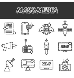 Mass media icons set vector image