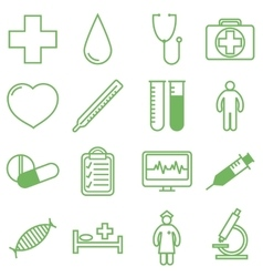Medical icons set in linear vector image vector image