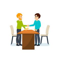 Meeting business partners in quiet cozy atmosphere vector