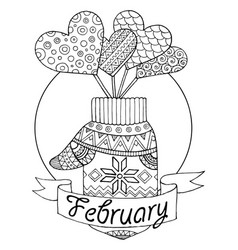 Mitten and hearts for calendar vector