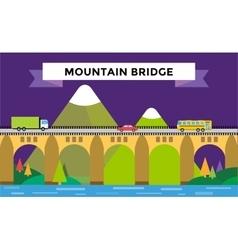Mountain bridge landscape vector image