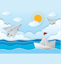 Ocean scene with paper airplane and boat vector