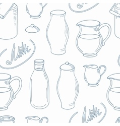 Outline seamless pattern with milk objects vector image