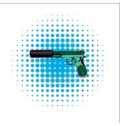 Pistol comics icon vector