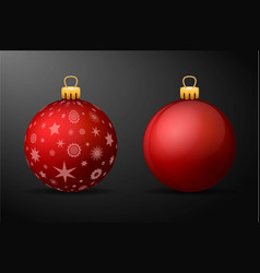 Red christmas balls with golden holders set of vector