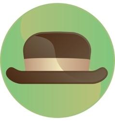 Retro brown hat symbol button vector
