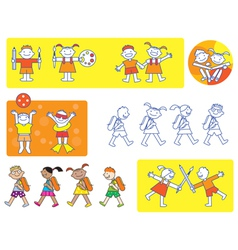 School kids icons vector image vector image