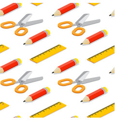 seamless pattern with isometric pencil ruler and vector image vector image