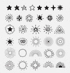 Set Of Vintage Sunburst and stars Hand-Drawn vector image