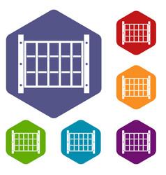 Yard fence icons set hexagon vector