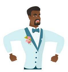 Young african-american angry groom screaming vector
