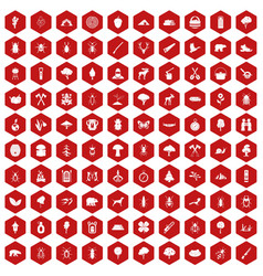 100 forest icons hexagon red vector