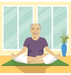 Senior man doing yoga exercises in lotus position vector